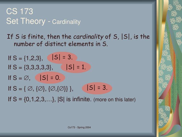 Cs 173 set theory cardinality
