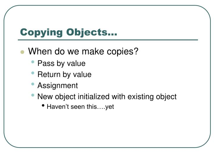 Copying objects