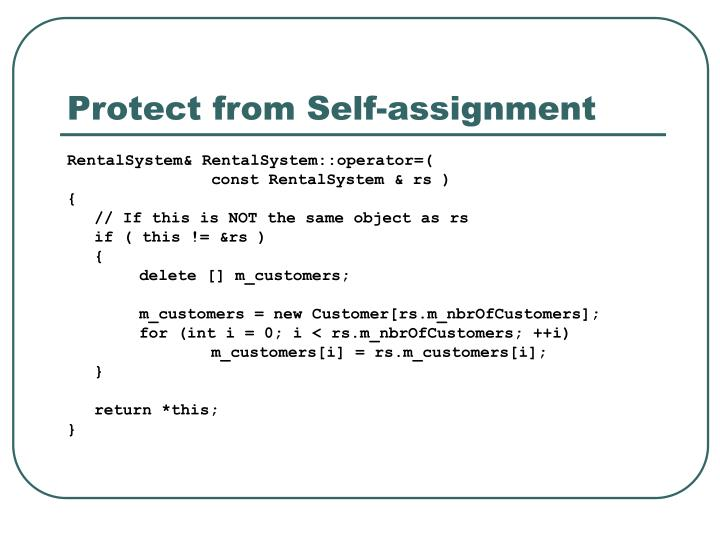Protect from Self-assignment