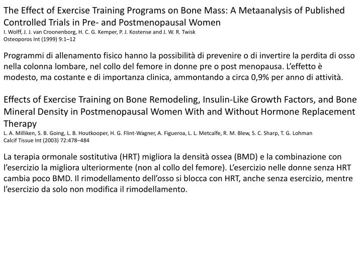 The Effect of Exercise Training Programs on Bone Mass: A