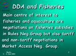 dda and fisheries
