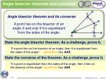 angle bisector theorem and converse