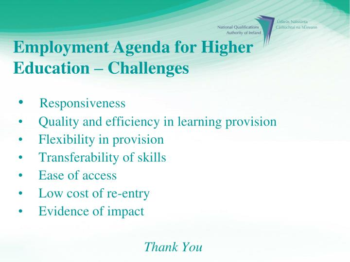Employment Agenda for Higher Education – Challenges