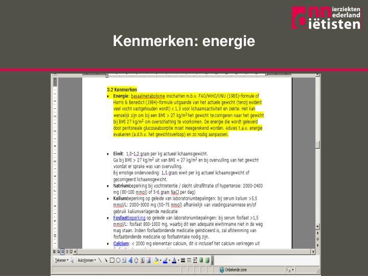 Kenmerken: energie