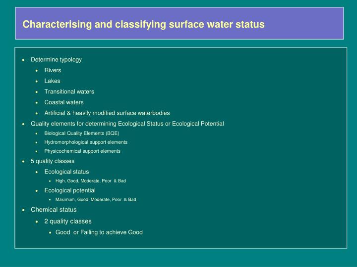 Characterising and classifying surface water status