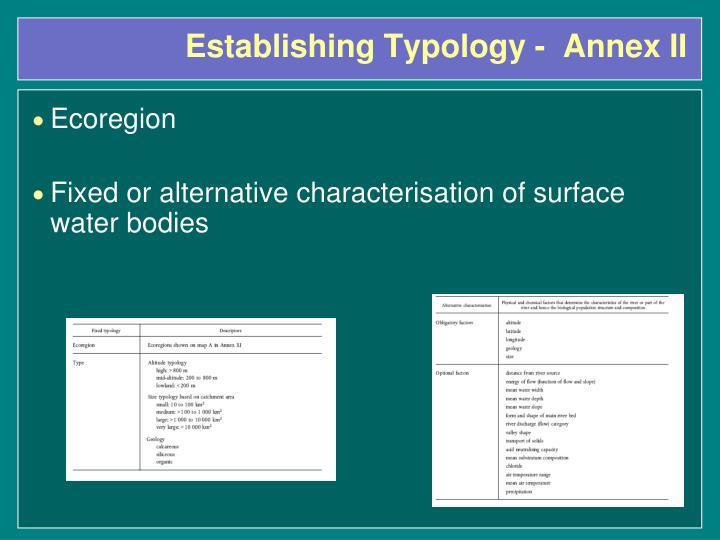Establishing Typology -  Annex II