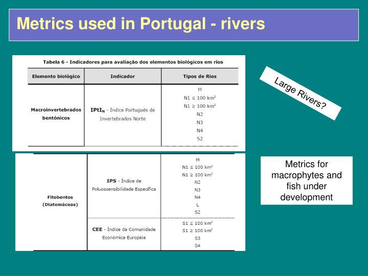 Metrics used in Portugal - rivers