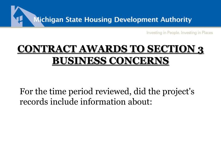 CONTRACT AWARDS TO SECTION 3 BUSINESS CONCERNS