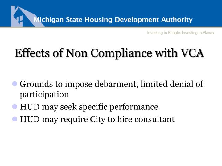 Effects of Non Compliance with VCA