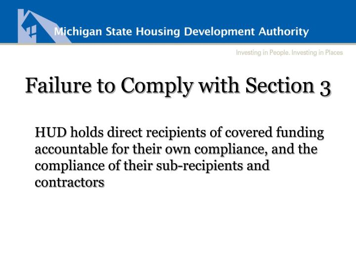 Failure to Comply with Section 3