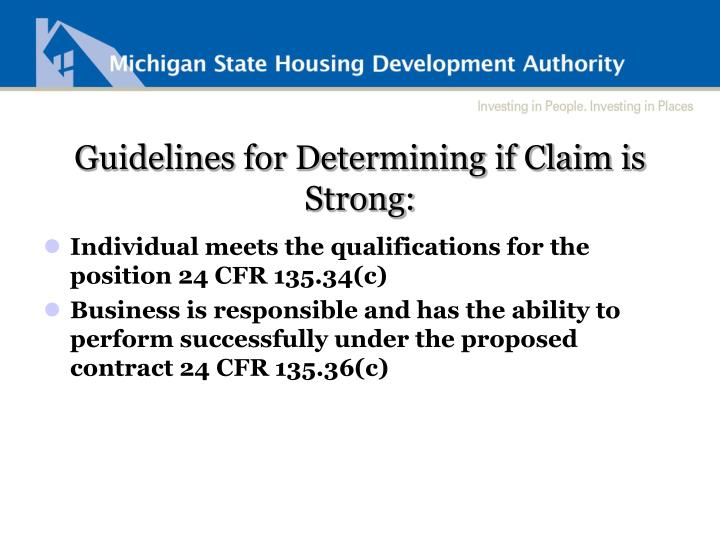 Guidelines for Determining if Claim is Strong: