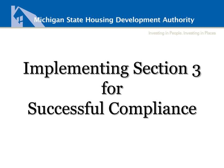 Implementing Section 3