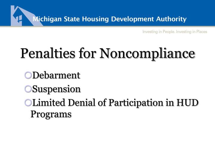 Penalties for Noncompliance