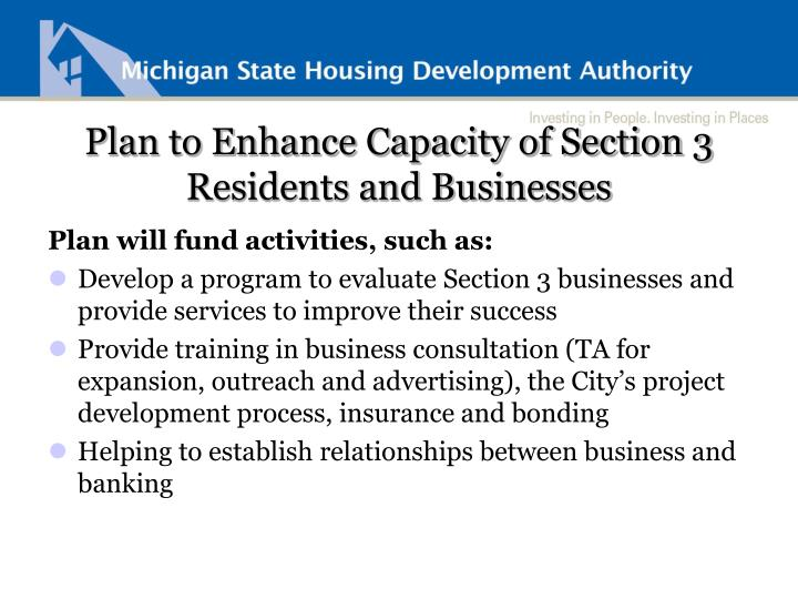Plan to Enhance Capacity of Section 3 Residents and Businesses