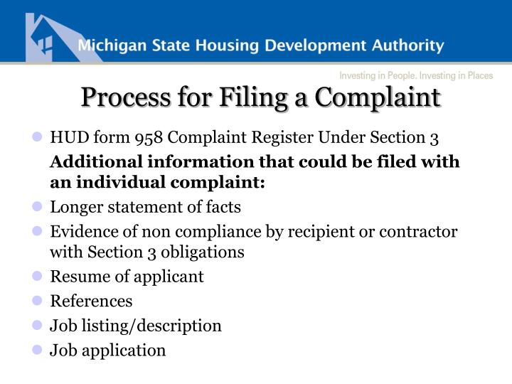 Process for Filing a Complaint