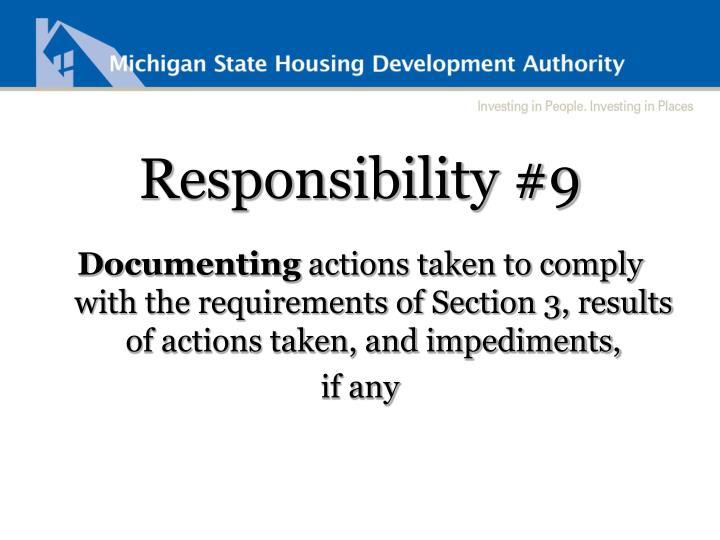 Responsibility #9