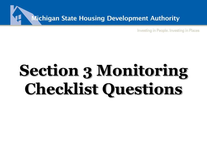 Section 3 Monitoring Checklist Questions