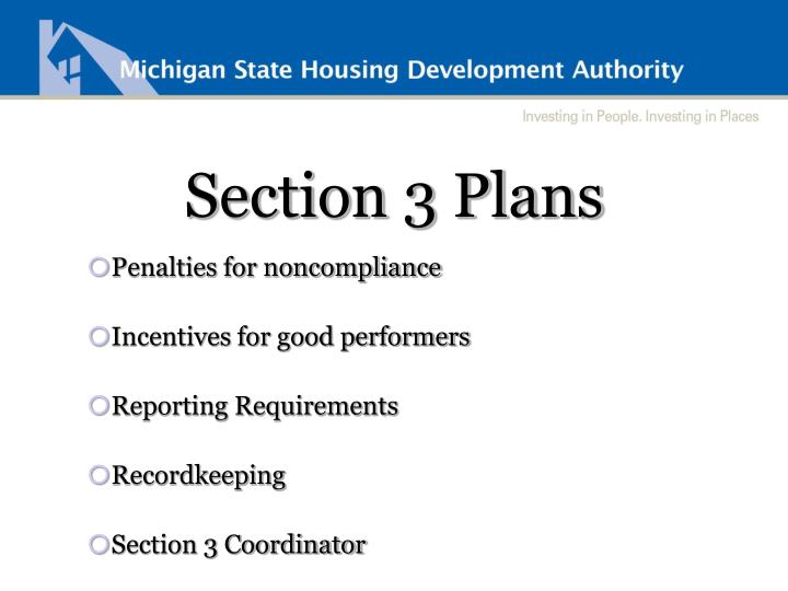 Section 3 Plans