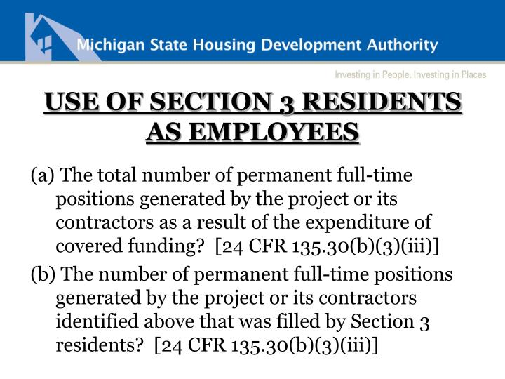 USE OF SECTION 3 RESIDENTS AS EMPLOYEES