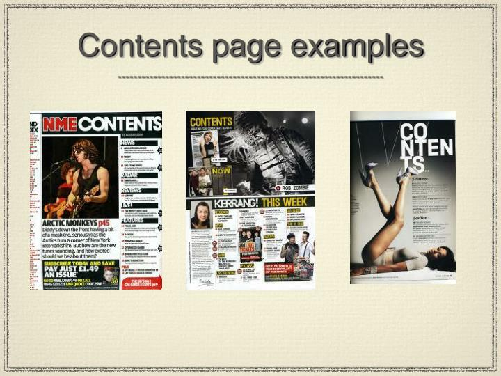 Contents page examples