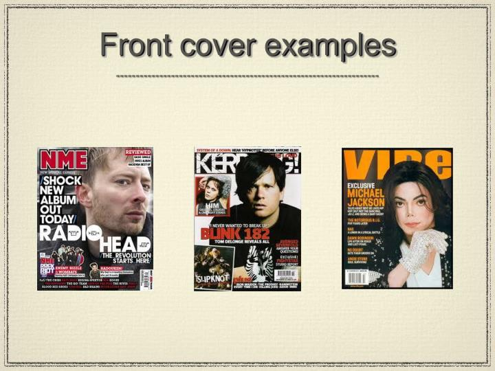 Front cover examples