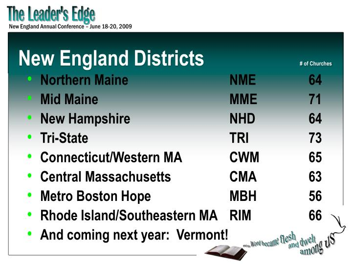 New england districts of churches