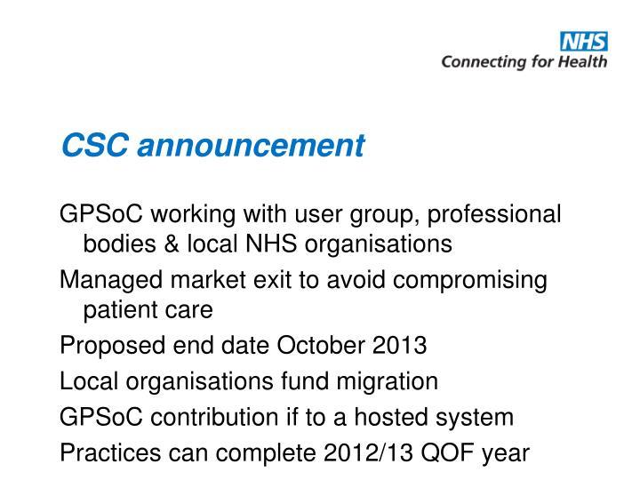 CSC announcement