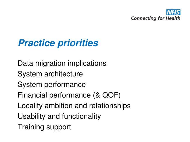 Practice priorities