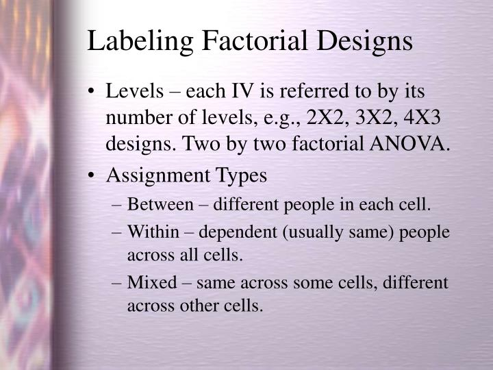 Labeling Factorial Designs