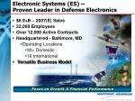 electronic systems es proven leader in defense electronics