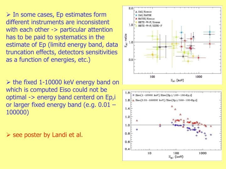 In some cases, Ep estimates form different instruments are inconsistent with each other -> particular attention has to be paid to systematics in the estimate of Ep (limitd energy band, data truncation effects, detectors sensitivities as a function of energies, etc.)