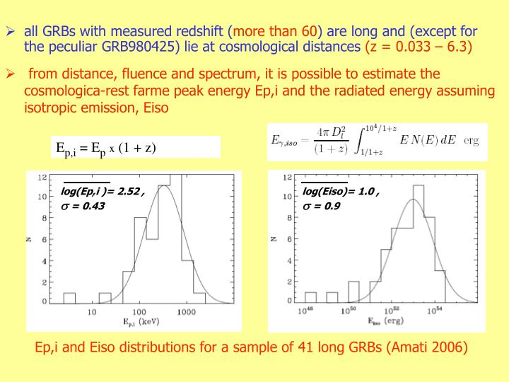 from distance, fluence and spectrum, it is possible to estimate the cosmologica-rest farme peak energy Ep,i and the radiated energy assuming isotropic emission, Eiso