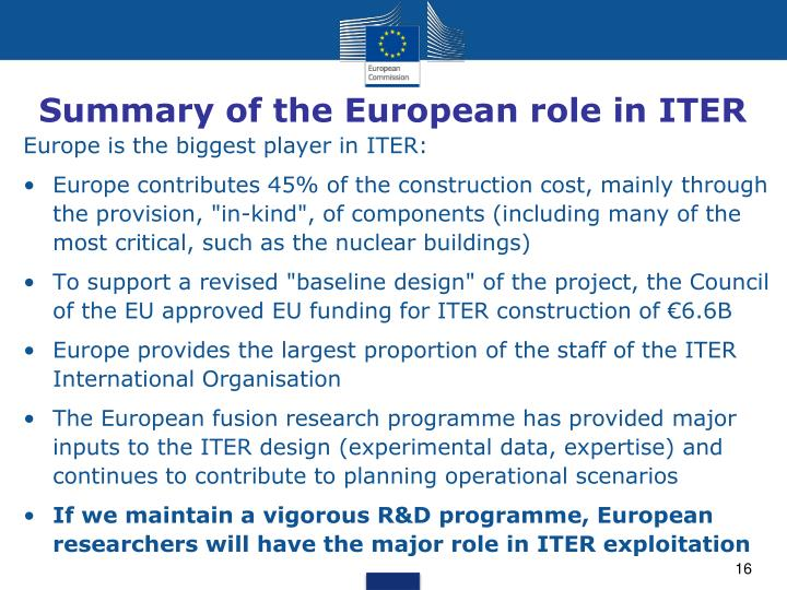 Summary of the European role in ITER
