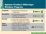 sybase product offerings window plug ins3