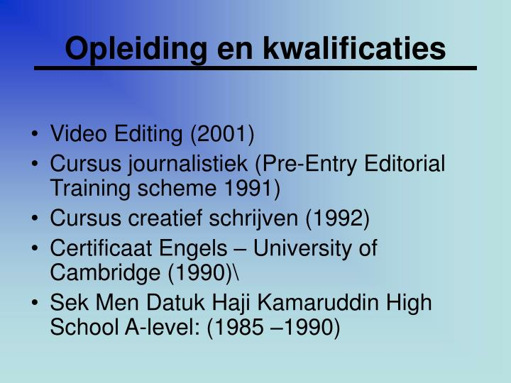Opleiding en kwalificaties