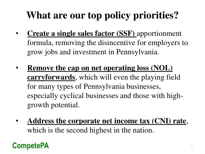 What are our top policy priorities?