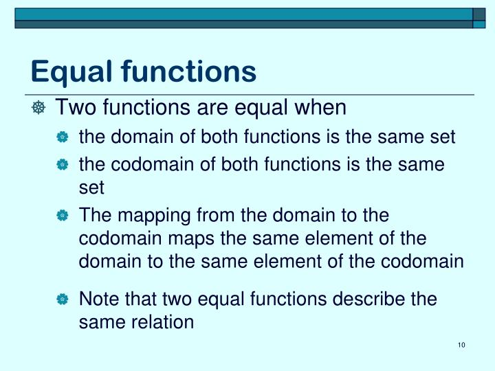 Equal functions