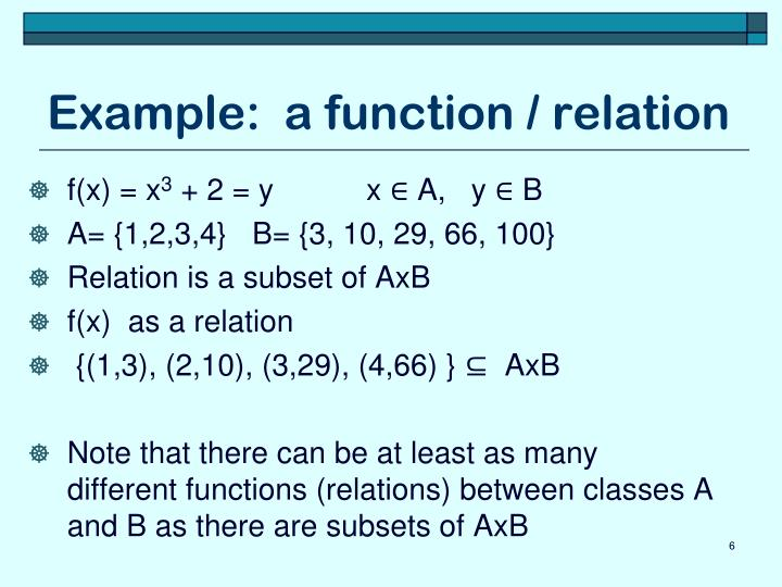 Example:  a function / relation