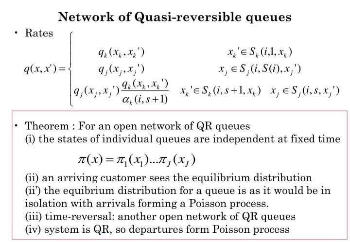Network of Quasi-reversible queues