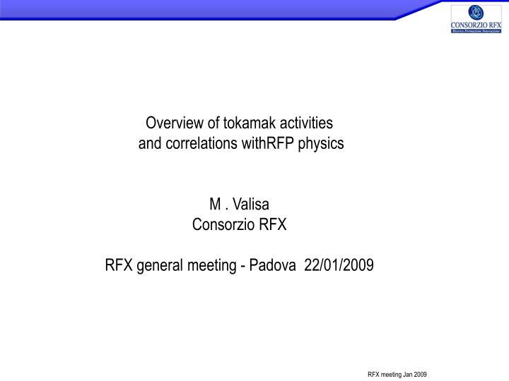 Overview of tokamak activities