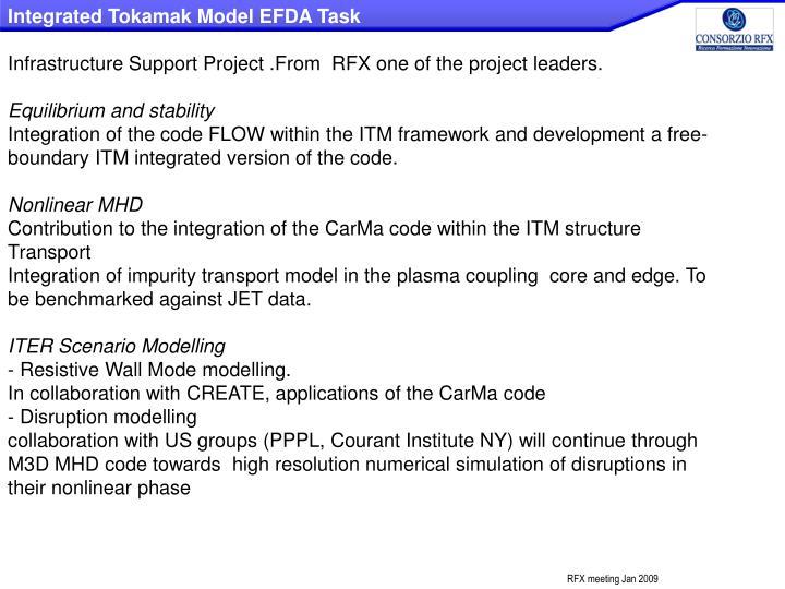 Integrated Tokamak Model EFDA Task