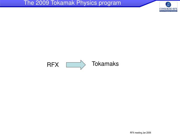 The 2009 Tokamak Physics program