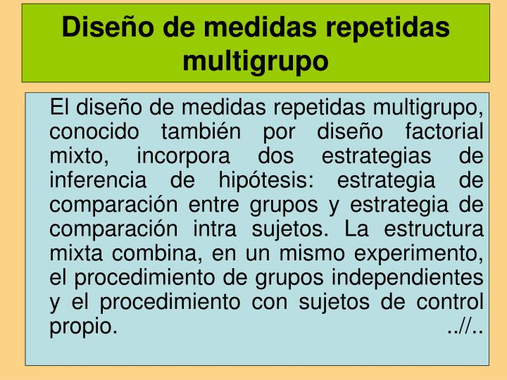 Diseño de medidas repetidas multigrupo