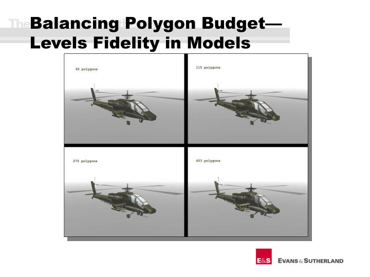 Balancing Polygon Budget—Levels Fidelity in Models