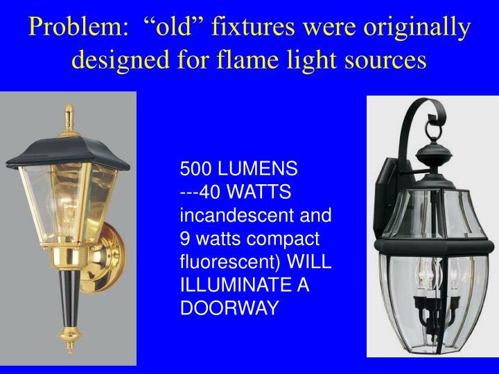 "Problem:  ""old"" fixtures were originally designed for flame light sources"