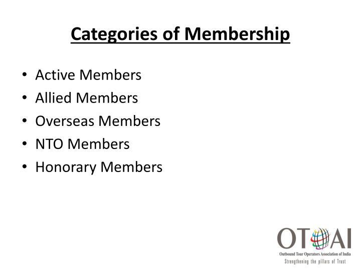 Categories of Membership