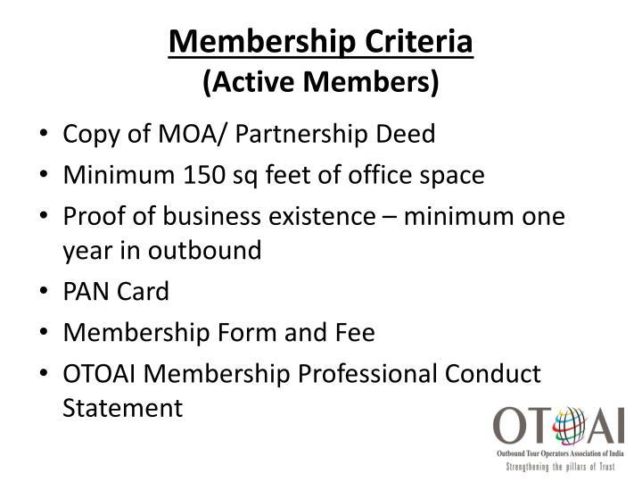 Membership Criteria