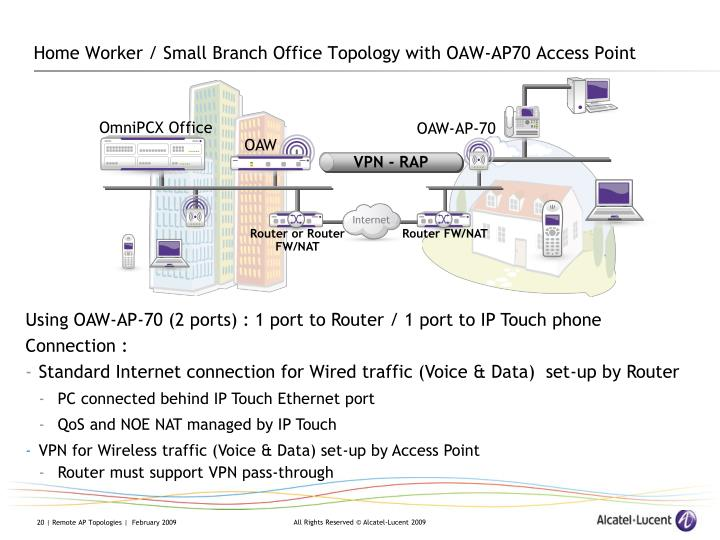 Home Worker / Small Branch Office Topology with OAW-AP70 Access Point