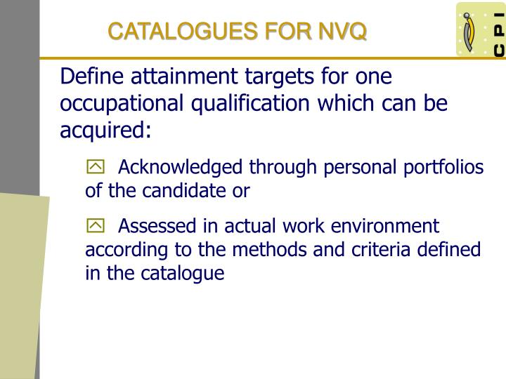 CATALOGUES FOR NVQ