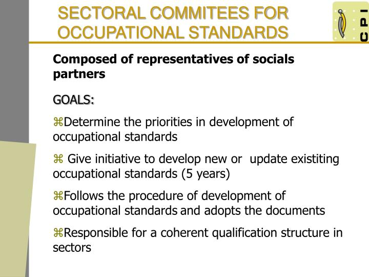 SECTORAL COMMITEES FOR OCCUPATIONAL STANDARDS